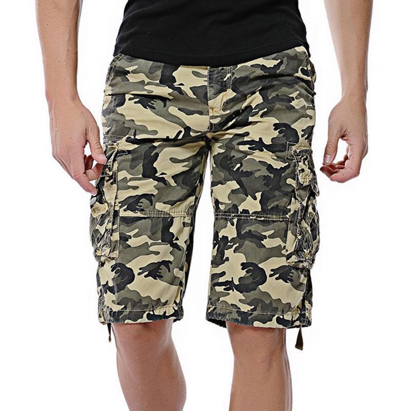 Camuflaje suelto cargando pantalones cortos hombres fresco verano militar camuflaje pantalones cortos homme táctico ropa de marca 38 hombres