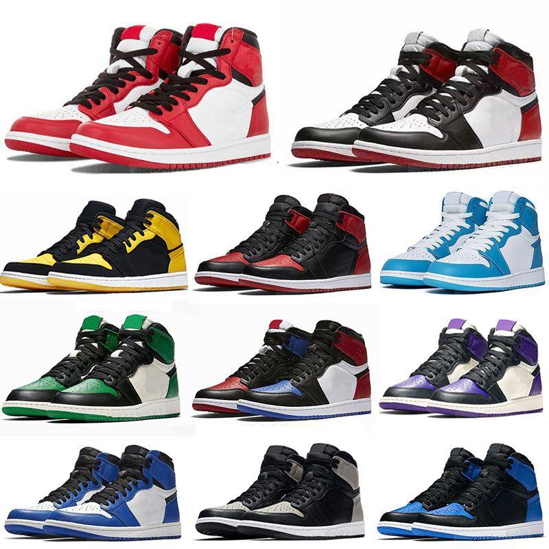 Jumpman jordan 1 OG Basketball shoes Running shoes haut Obsidian UNC sans Peur First Class Flight PHANTOM TURBO GREEN 1 Backboard taille d'entraîneur baskets sport 36-46