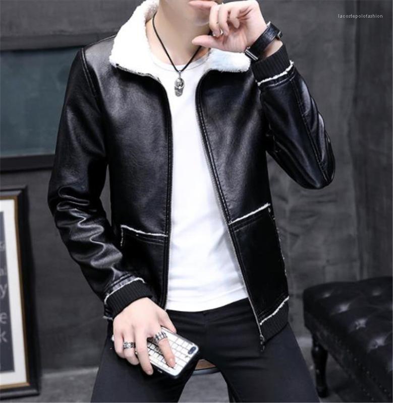 Jaquetas outono espessura manga longa mens outerwear moda mens falsa casaco de couro magro colarinho mens pu couro