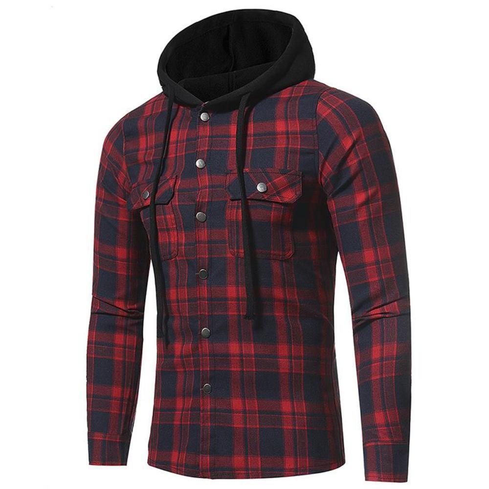 Hoodie клетчатые рубашки мужские хлопок 2021 европейский новый модный кардиган с длинным рукавом осень повседневный плюс размер высокого качества теплый