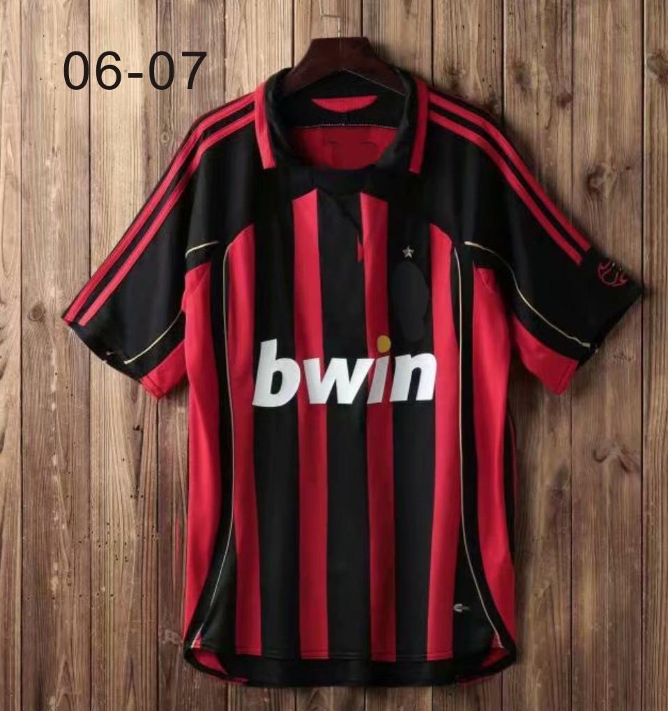 06-07 Jerseys Retro Vintage Classic Kaka Maldini Inzaghi Maillot de Pie Soccer Uniform Kits Tailandia Calidad Camisas de fútbol Kit