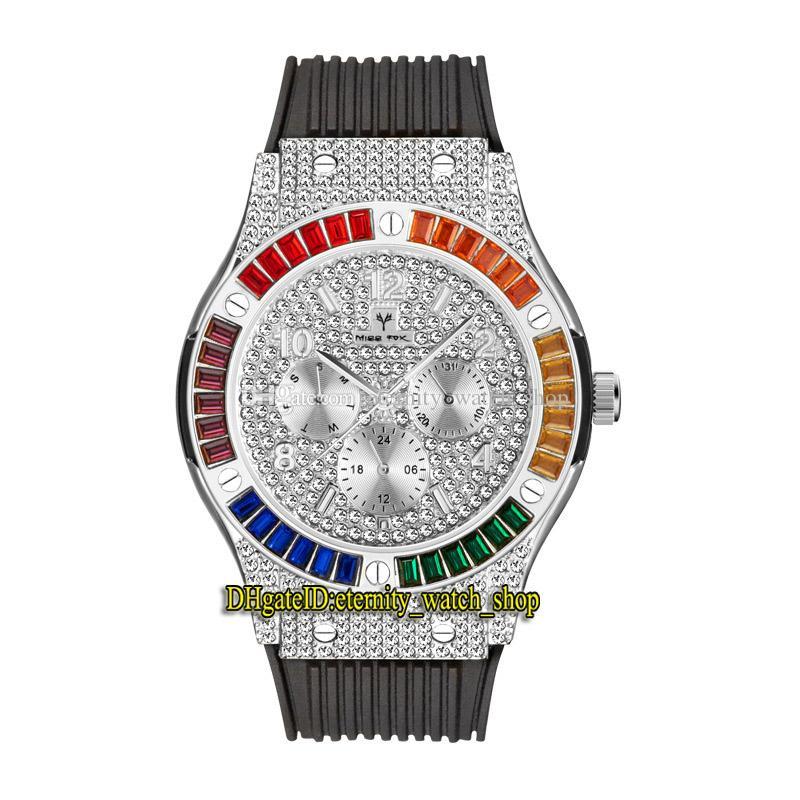 MissFox Eternity V315 2 Hip Hop Moda Mens Mens Relógios CZ Diamond Inlay Silvery Dial Movimento Quartz Homens Assista Gelado Out Arco-íris Diamantes Liga de Bezel Caixa de borracha