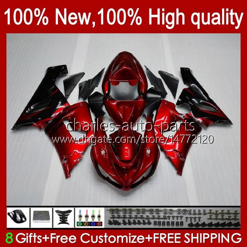 Moto Body For KAWASAKI NINJA OEM ZX600C ZX636 ZX 6R 6 R 600CC 05-06 Bodyworks 7No.3 ZX600 ZX 636 ZX-6R 2005 2006 ZX-600 ZX-636 600 CC ZX6R 05 06 ABS Fairing Kit red flames