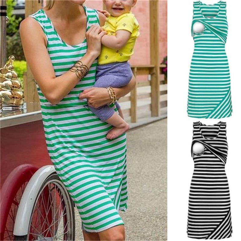 Vestidos de rayas de verano para mujer Vestido de enfermería de maternidad para embarazo embarazada Madre de mujer Ropa de hogar Tallas grandes Casual