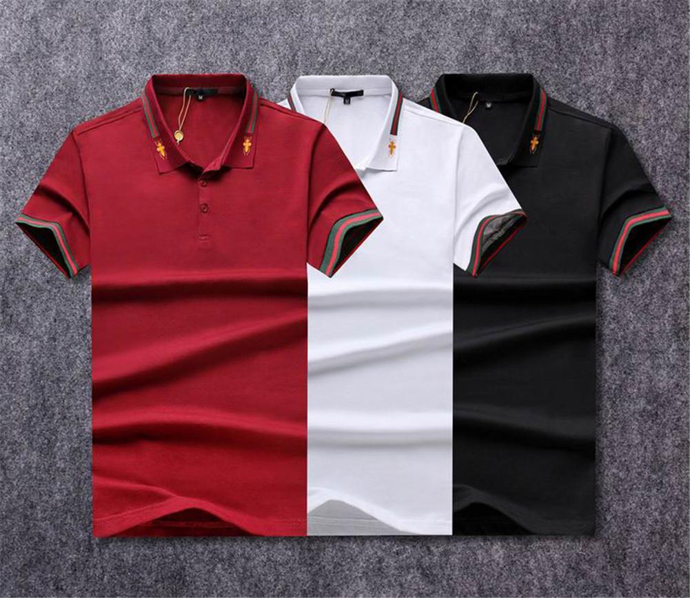 Moda de lujo clásico para hombre letra bordado camisa algodón hombre diseñador rayado camiseta diseñador polo camisa masculina m-3xl