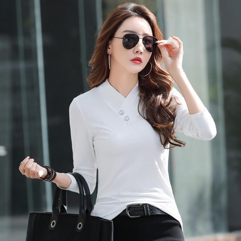 T-shirt Coton modal Couleur Solide à manches longues Femmes 2021 Début Printemps Cristal Button Casual V-NE T-shirt