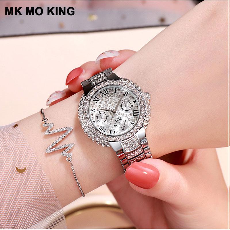 탑 여성 팔찌 시계 전체 다이아몬드 패션 숙녀 방수 쿼츠 스테인레스 스틸 시계 Bayan Kol Saati 손목 시계