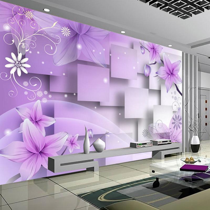 Wallpapers personalizado 3d popa papel de parede decoração moderna arte abstrata flores roxo pintura de parede sala de estar tv fundo pano mural