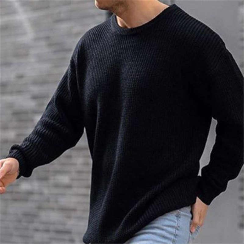 Homme Pulls à tricoter de couleur Solide Mode Occident Tendance longue manche à manches rondes Pull à col rond Pull mâle ressort perturbateur