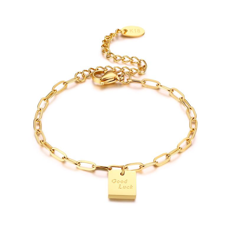 Ladies Rectangle Charm Friendship Bracelets Good Luck Letter Solid Stainless Steel Link Chain Bracelet Womens Trenday Jewelry