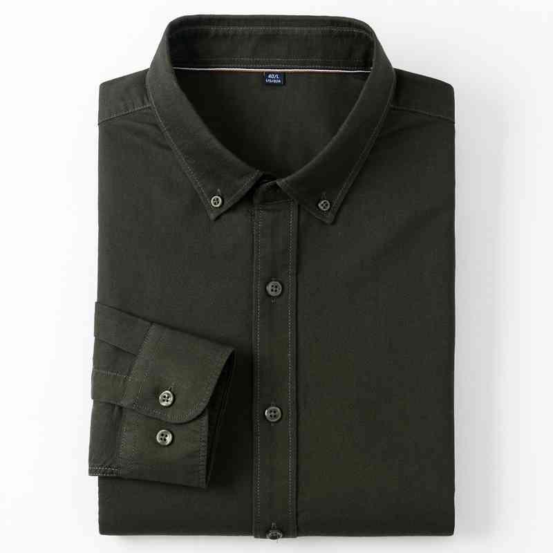 Erkek Moda Ekose / Çizgili 100% Pamuk Oxford Gömlek Rahat Yumuşak Uzun Kollu Standart-Fit Düğme-Aşağı Giyim İş Gömlek 210323