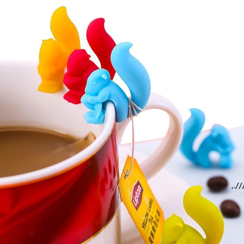 Çay Araçları Sevimli Salyangoz Sincap Şekli Silikon Torba Tutucu Fincan Kupa Klip Şeker Renkler Hediye DWB7261