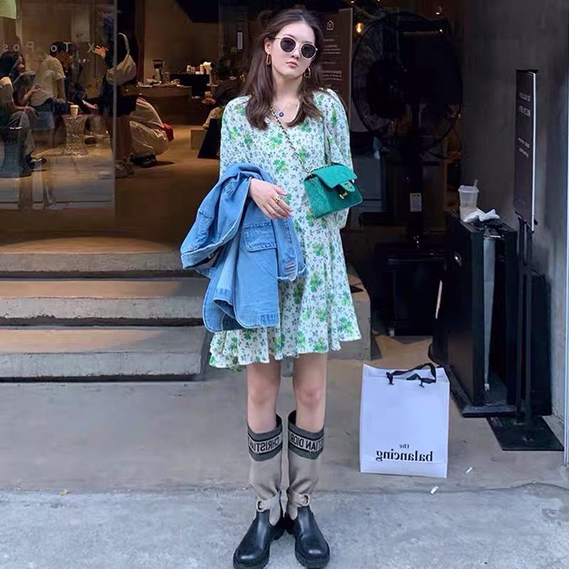 New Spring Womens Chá Francês Break Platycodon Grandiflorum Retro Solto Verde Sleeve Sleeve Vestido Floral
