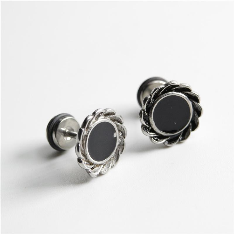 1pc Punk Style Black Round Lace Earrings Hip Hop Rock Stainless Steel Men's And Women's Trend Party Accessories Jewelry Stud