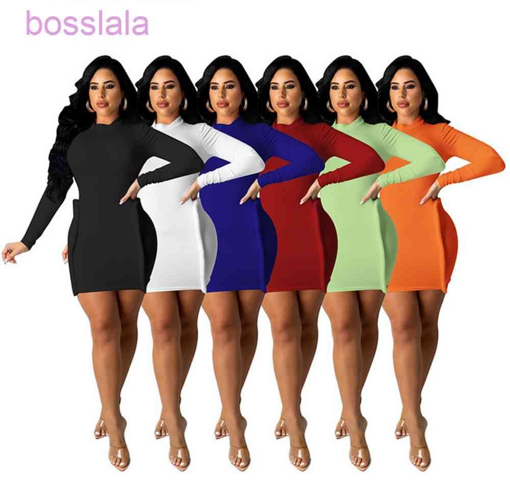 가을 섹시한 긴 소매 밝은 라인 장식 드레스 늑골이있는 스키니 니트 드레스 여성 의류 Streetwear 솔리드 나이트 클럽웨어 L0729
