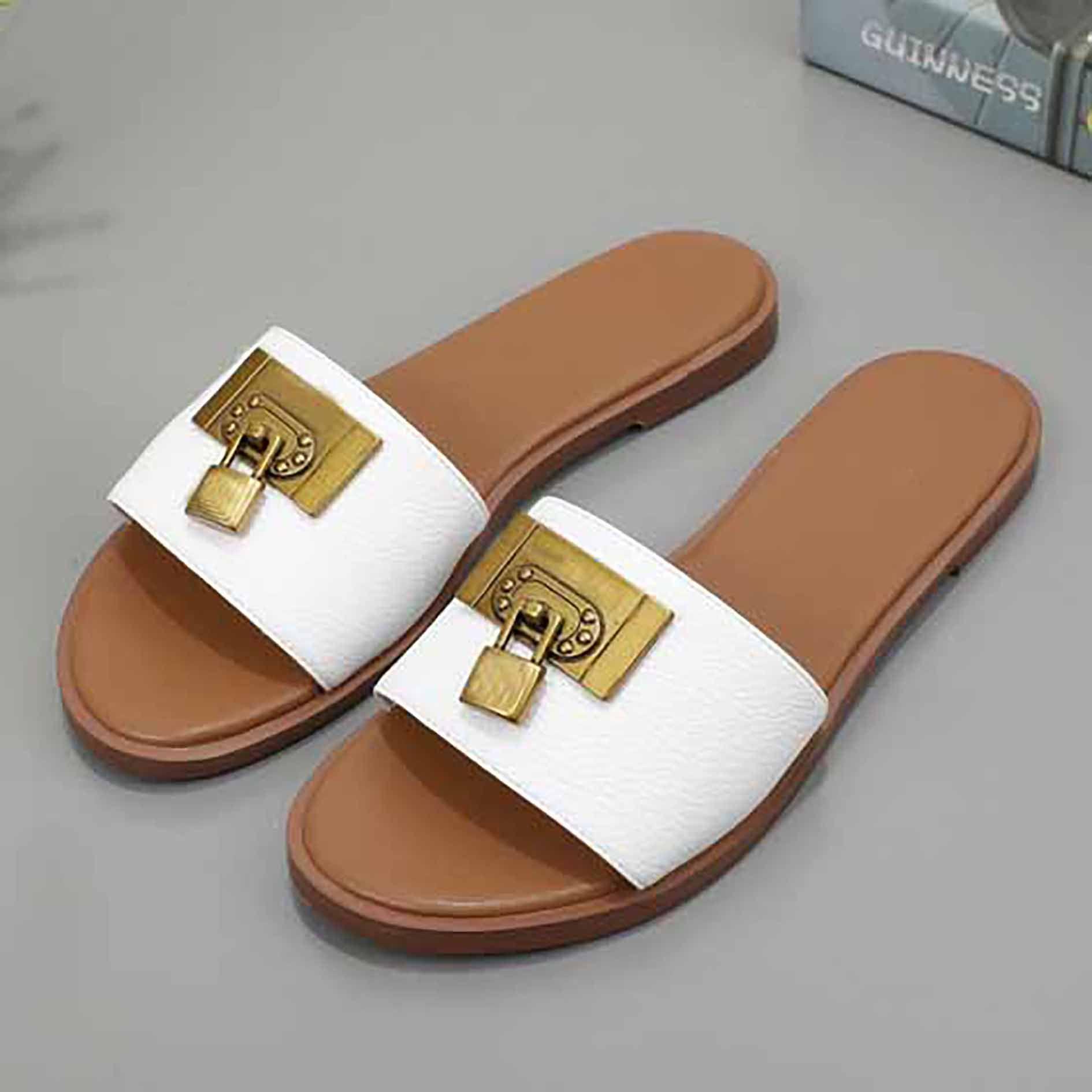 Moda de lujo para mujer zapatillas Sandalia importada haya Sole Crystal Becerro Cuero Plataforma acolchada Sandalias Sandalias Piso Sandalias 35-42