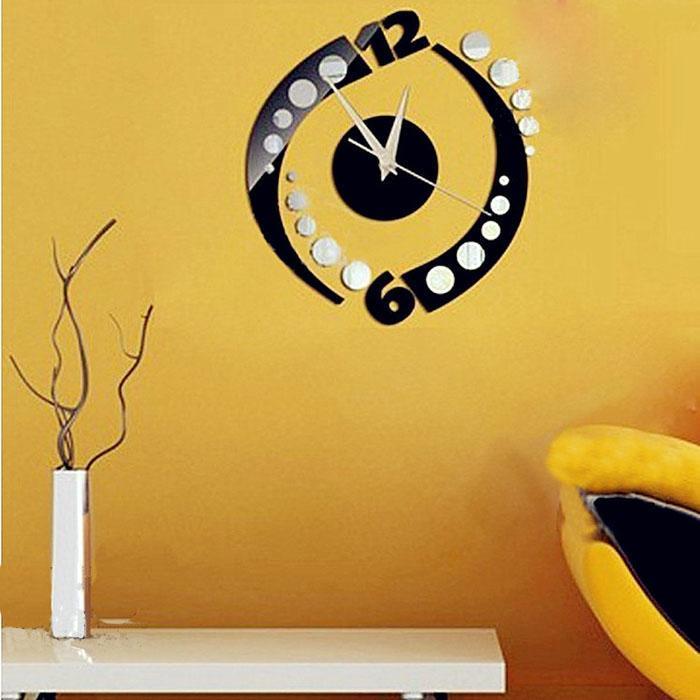 Wall Clocks 24.5cmX24.5cm DIY 3D Large Modern Home Decor Relogio De Parede Com Para Casa Sala Mirror Stickers Clock B1