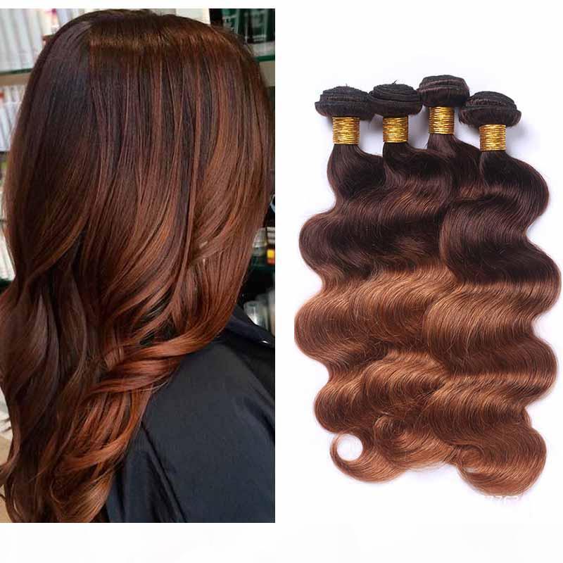 Peruana ombre extensão de cabelo dois tons 4 30 # onda corporal marrom cabelo humano tecelagem 4 pacotes atacado colorido louro peruano cabelo