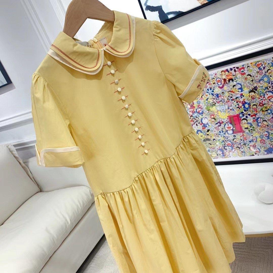 Pre-venta dulce luz amarillo muñeca collar de verano manga corta bebé ropa ropa de algodón suave princesa vestido