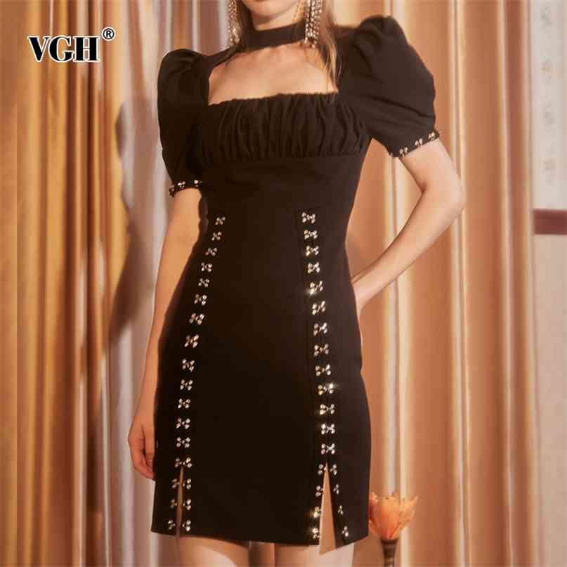 Vintage Noir Robe Pour Femmes Collier Square Col Feuille À Manches Longues Taille High Taille Patchwork Bouton Côté Split Robes Femelle 210531