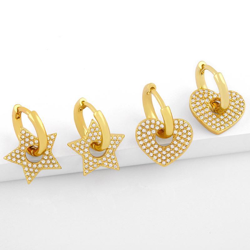 디자이너 뜨거운 판매 사랑 상감 다이아몬드 귀걸이 여성 성격 기하학적 스타 더블 링 귀걸이
