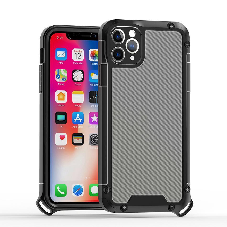 Fibra de carbono a prueba de golpes TPU TPU PC Cajas de teléfono celular para iPhone 12 11 Pro max xr xs x 8 7 6 Samsung S21 S20 Plus Note20 Ultra