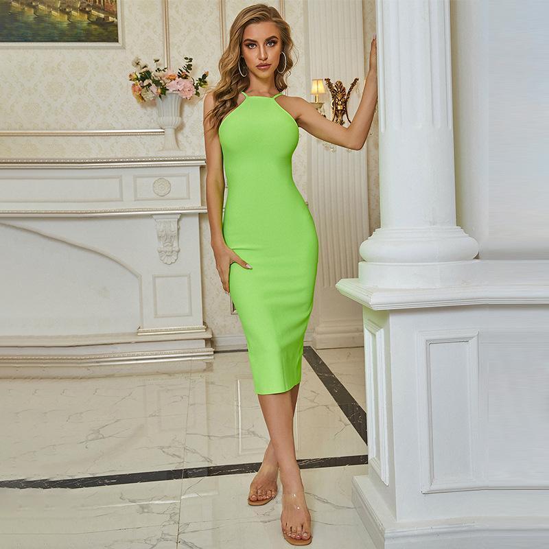 Mulheres BANDAGE Vestido sem mangas apertado-montador de quadril de quadril slit sexy temperamento fino verde backless celebridade festa vestidos casuais