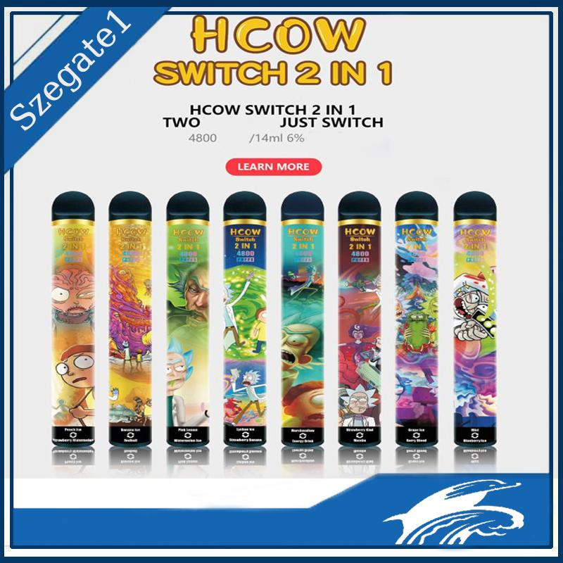 HCOW Switch 2 IN 1 4800 PUFFS DISPOSABLE VAPE double Cigarette Pre-filled 14ml 1900mAh 8 colors Battery VCAN Shine R and M