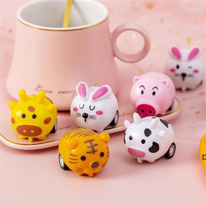 Mini kleine Cartoon kleine Tierentwürfe LKW-Trägheitslaufwagen für Kleinkind Kinder Zweirad-Jungen- und Mädchenspielzeug DHF5985