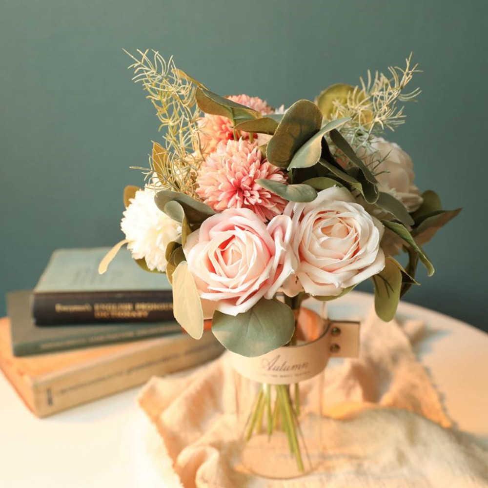 가짜 장미 꽃 수국 인공 플라스틱 꽃 녹색 식물 웨딩 홈 장식 룸 장식 플로레스에 대 한 꽃다발
