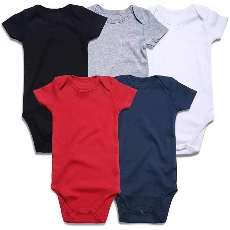 Rompers Unisex сплошные черные белые мальчики девушки с коротким рукавом Bodysuit рожден детская детская одежда