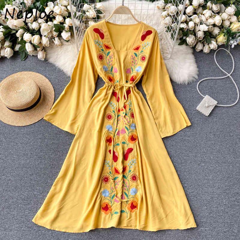 Tatil Bohemian Baskı Uzun Elbise Kadın V Yaka Kazak Kol Vestidos Yüksek Bel Kalça Bir Hattı Robe Bahar 210430
