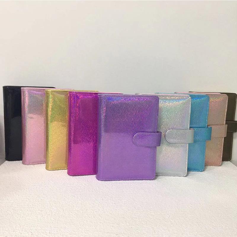 A6 بو الجلود المفكرة غطاء 6 حفرة الدائري المعادن الموثق لطيف يوميات الكراث التعبئة والتغليف المحمولة مكتب السفر لوازم 9 ألوان
