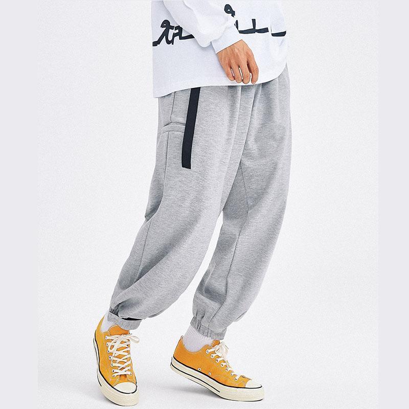 남성 streetwear 힙합 느슨한 코튼 패브릭 넓은 다리 바지 팬츠 조깅 스웨트 팬츠 남성 탄성 허리 벨트 스포츠 캐주얼 하렘 바지 남자
