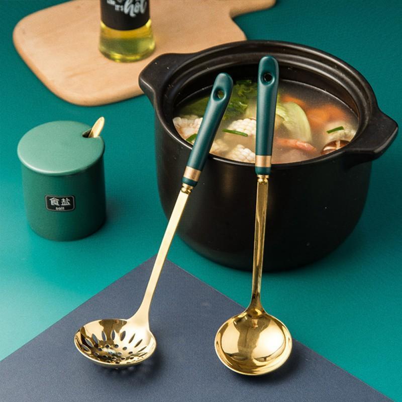 Colheres do norte da Europa de aço inoxidável com cerâmica Longa alça anti-escaldante sopa de família cozinha cozinhar t
