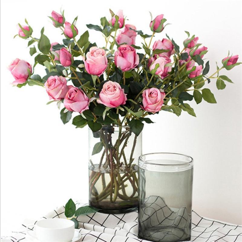 2head Retro Bulgaro Rosa fiori artificiali fiori di nozze Flower Flower Home Room Della Sala Da Tavolo da ufficio Multi colori rosa bianco