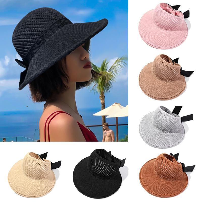 Moda Katlanabilir Plaj Şapka Geniş Brim Ilmek Saman Kap İlkbahar Yaz Kadınlar Için Taşınabilir Casual Visors UV Korumalı Şapkalar