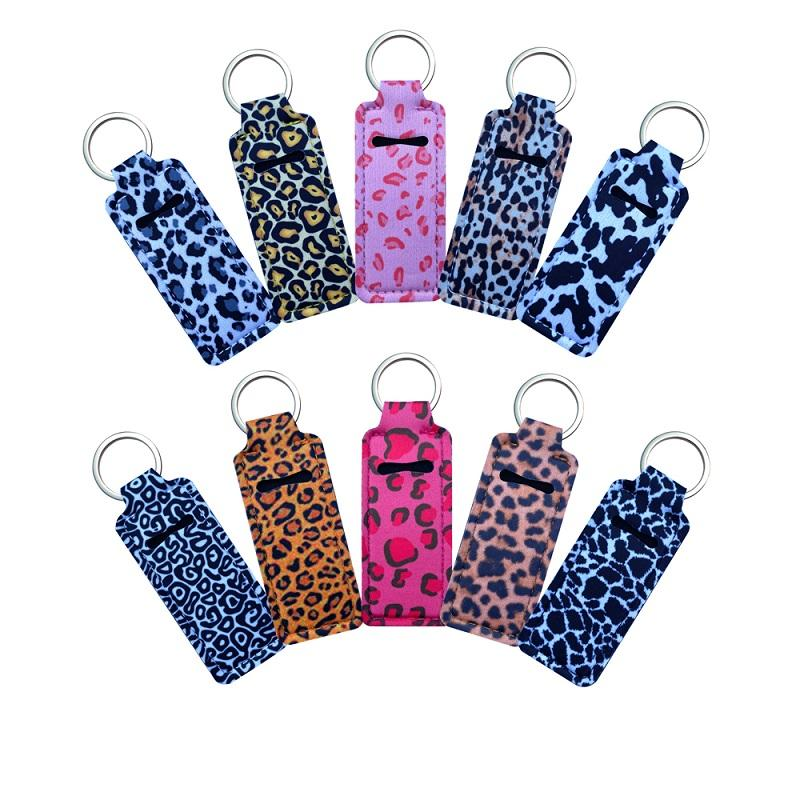 Personalizado 20 Estilo Leopardo Square Neoprene Chapstick Titular Keychians Handy Lip Balm Keychains Batom Suportes Keychain Bolsa