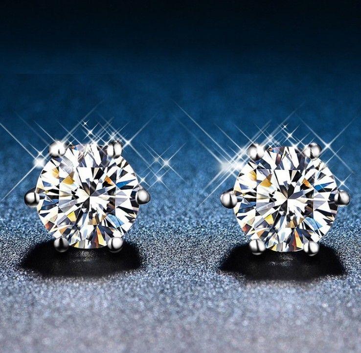 6MM CZ Zircon Stud Earrings Engagement/Wedding Jewelry For Women Top Quality