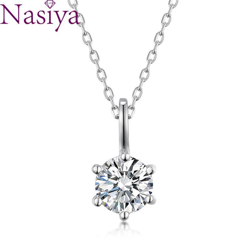 1ct 6.5mm EF VVS rond 18K blanc plaqué or 925 argent collier de moissanite diamant test passé bijoux Cadeaux de Noël