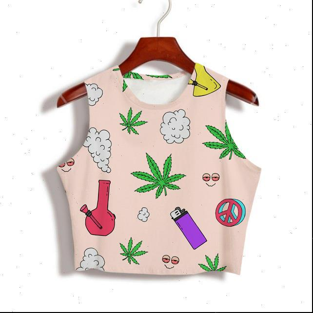 Top donna Stoner 420 Stampa a sublimazione 3D Custom ha prodotto i tuoi disegni Latte Silk Silk Drop Crop