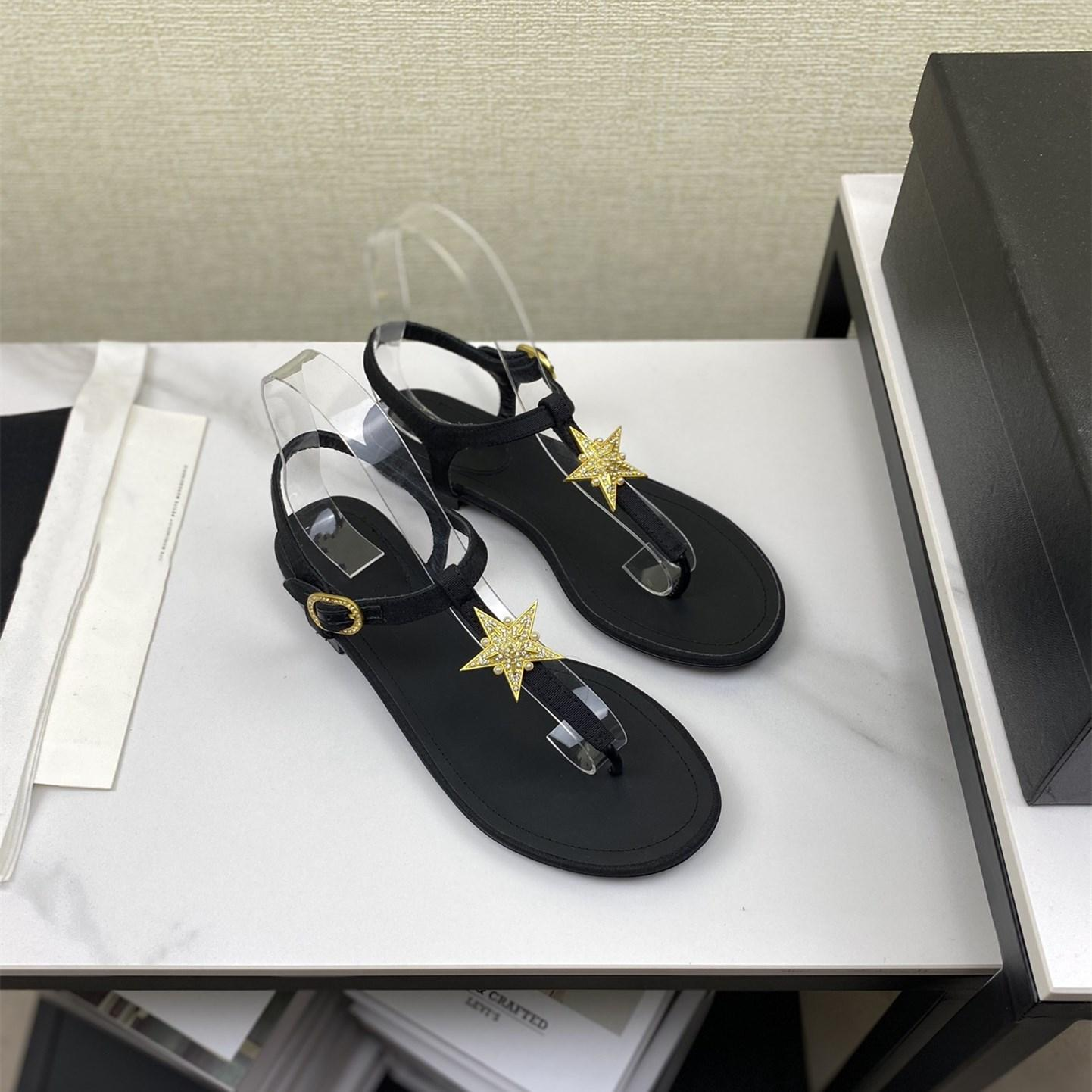 Top clipe casual sapatos de pé simples design preto liso mulheres sandálias de verão dourado diamante cinco-pontudo estrela decorativa sandwear flip flops