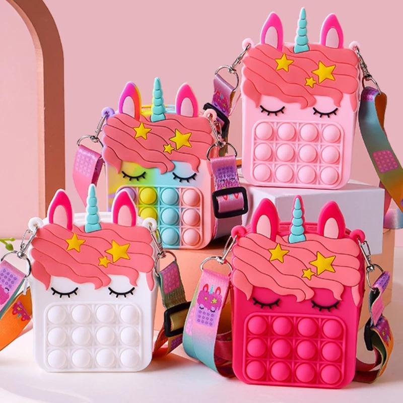 Stock, Fidget Toys Sensory Bubble Bolsa de hombro Straps Straps Push Phone Phone Phone Phone Phone Funda Monedero Monedero descompresión Unicorn Toys for Girls Kids