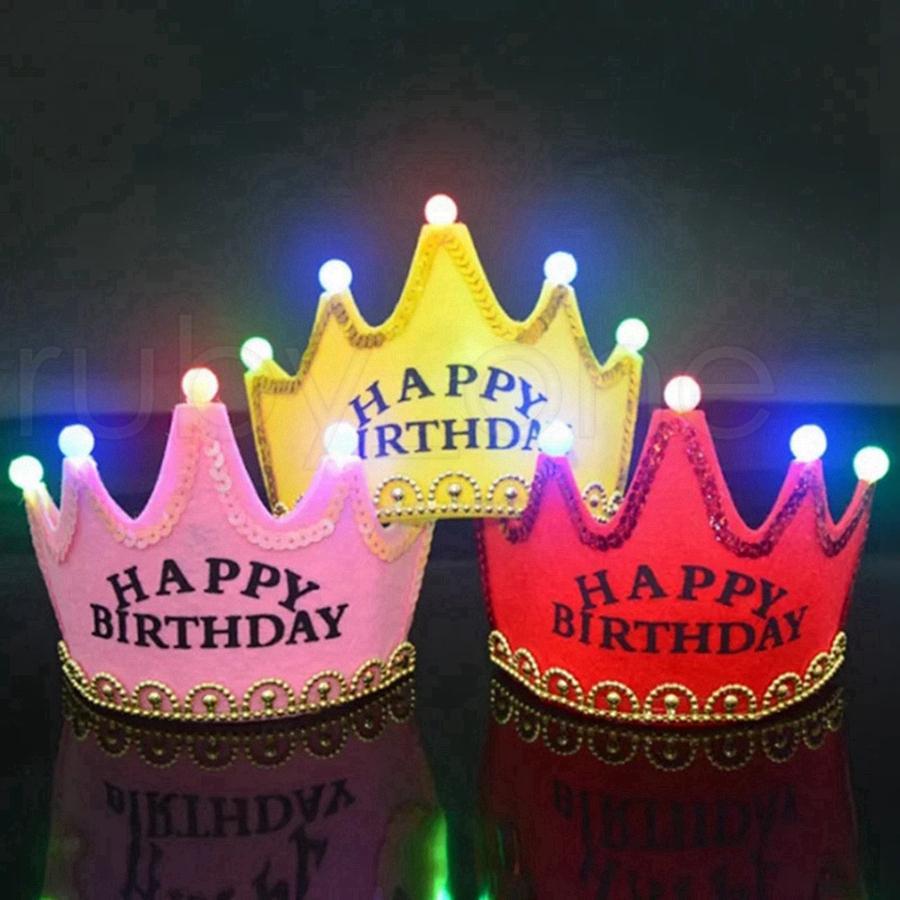 Kindergeburtstag Party Dekoration Hüte Weihnachten Glühende Krone Kappe Baby Einjährige Schmuckbedarf Geburtsdatum Hut Rra7143