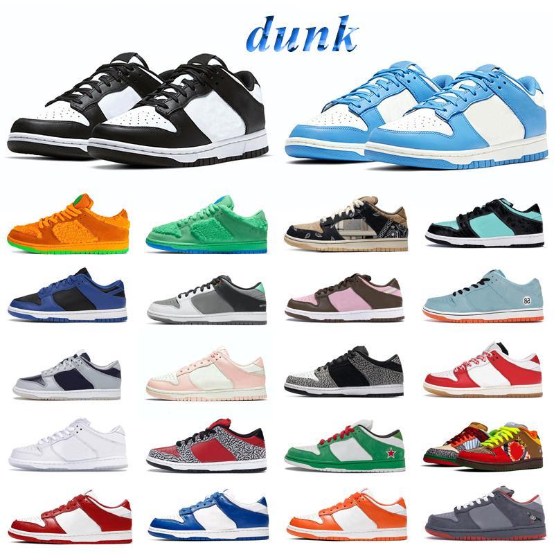 Dunk sneakers الرجال النساء الاحذية الأخضر الوهج مكتنزة dunky syracuse أسود أبيض UNC جامعة الأحمر القشرة عطلة خاصة رجل المدربين الرياضة في الرياضة
