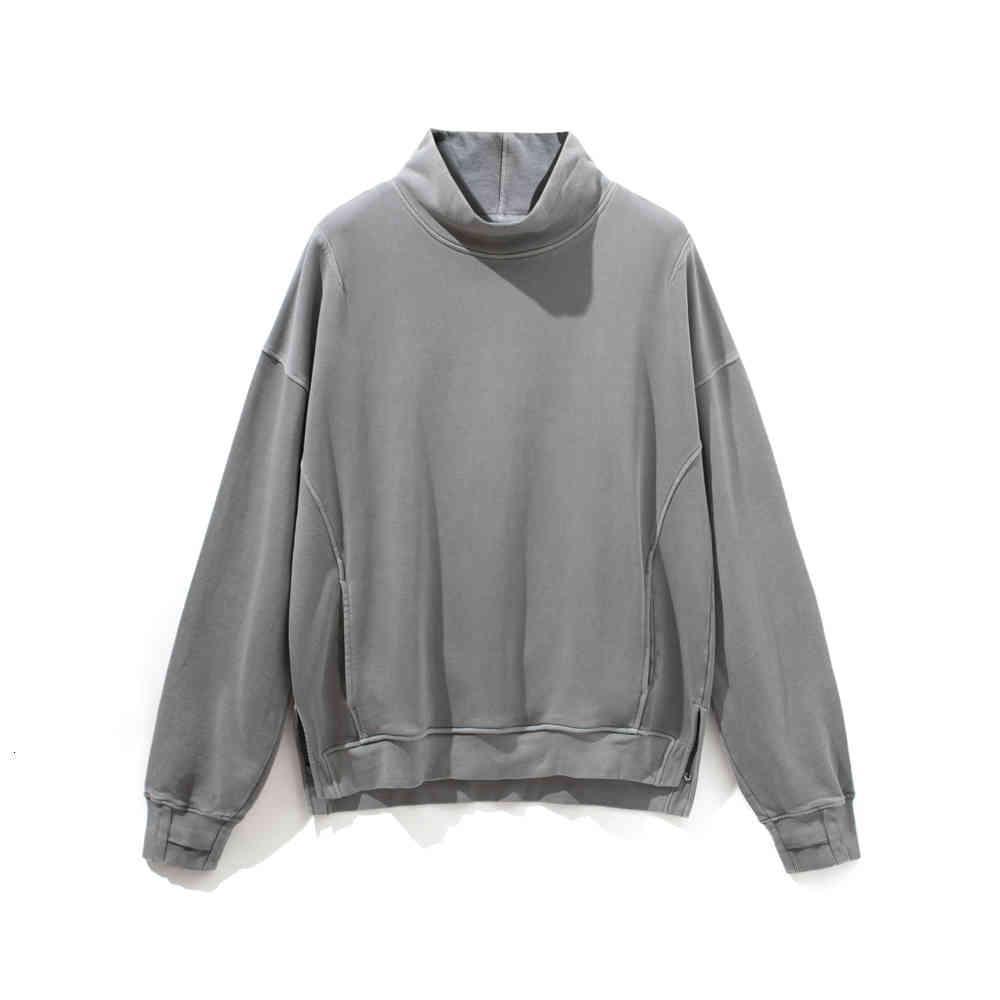 Sudaderas Kanye West Stand Colllar Sudadera de gran tamaño Styling Styling Hip Hop Pullover de algodón lavado con ropa
