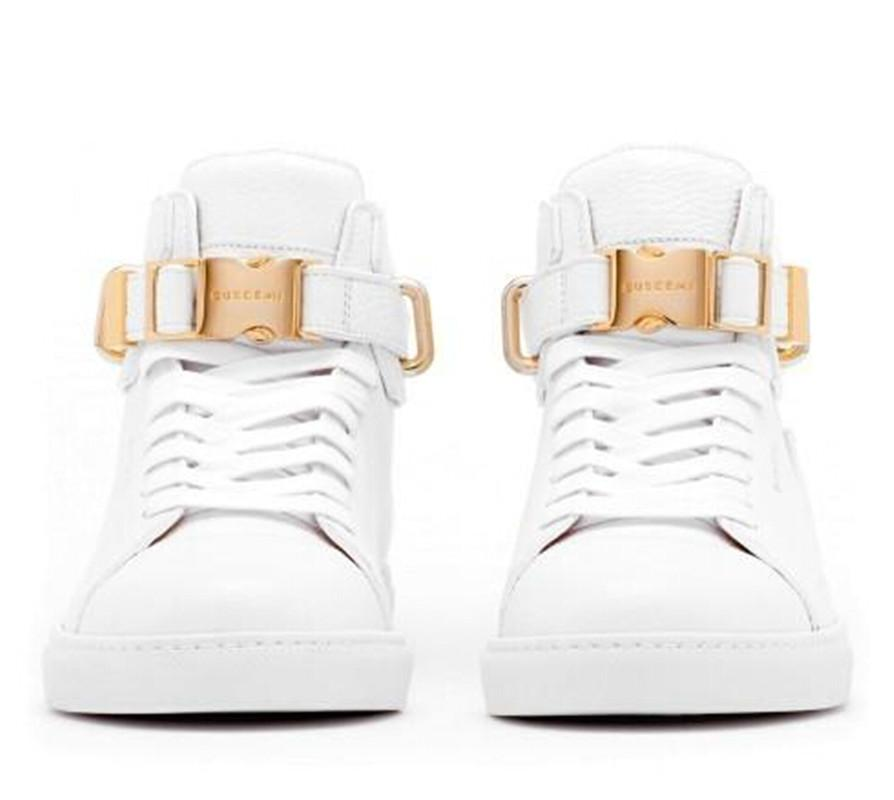 Erkek Yüksek Üst Rahat Ayakkabılar Su Geçirmez Tasarım Yüksek Kalite Deri Ayakkabı Saf Siyah Beyaz Düz Dipli Açık Ayakkabı 38-45