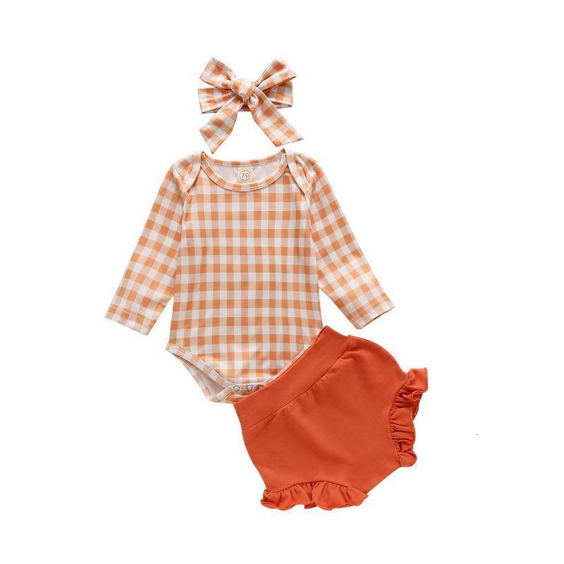 의류 세트 봄 아기 소녀 Raiow 격자 무늬 탑 긴 소매 Romper + 반바지 활 머리웨어 3 피스 세트 E100228 GGOJ