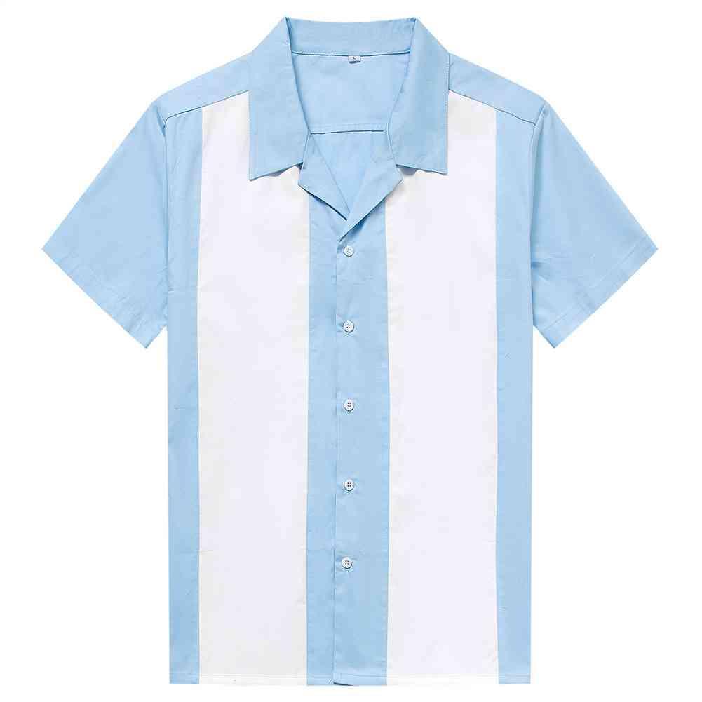 셔츠 플러스 사이즈 남성용 50 대 남성 의류 반팔 패치 워크 로커 빌리 스타일 캐주얼 코튼 블라우스 볼링 ST108 파란색