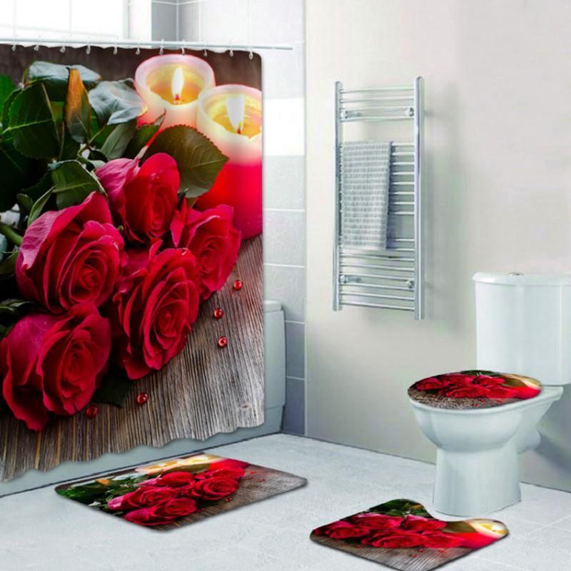 Duschvorhänge 4 STÜCKE Set 3D wasserdichte Landschaftsvorhang Duschen Baddekoration Home Möblierung Happy bathroom Produkte